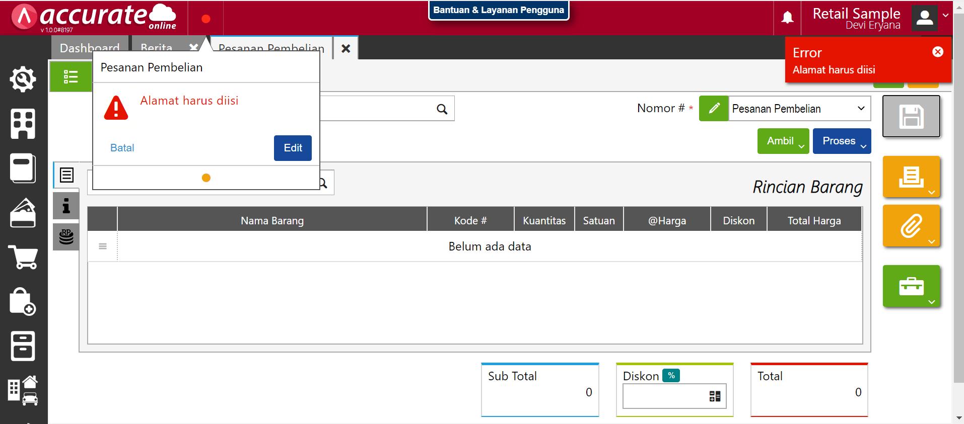 error pada saat input pesanan pembelian di accurate online
