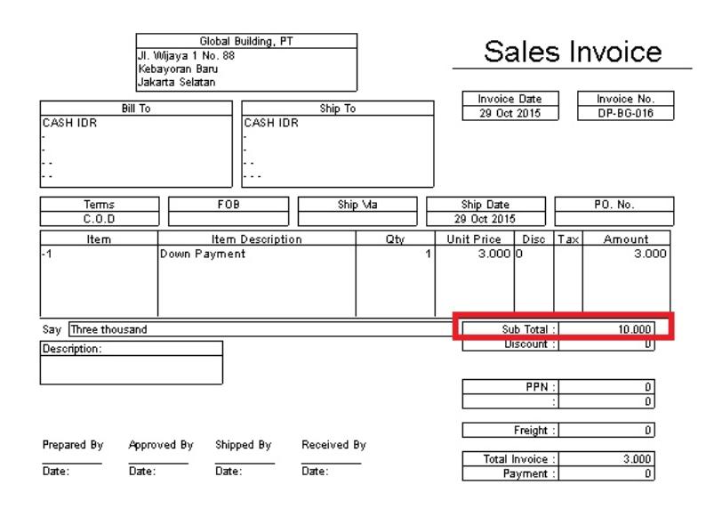 invoice uang muka dengan nominal total orderan
